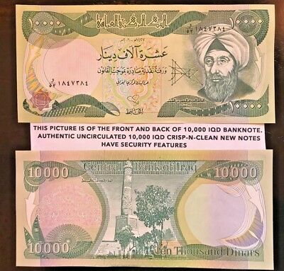10,000 X 2 - Iqd Dinar Notes Authentic Uncirc.w/security Feature Free Envelope
