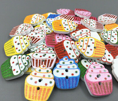 50X  Wooden Buttons Cupcakes shape Mixed color Sewing Scrapbooking 2 holes 20mm
