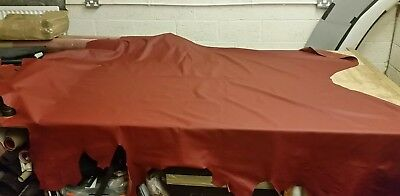 old english red leather automotive bull hide LEATHER SAMPLE