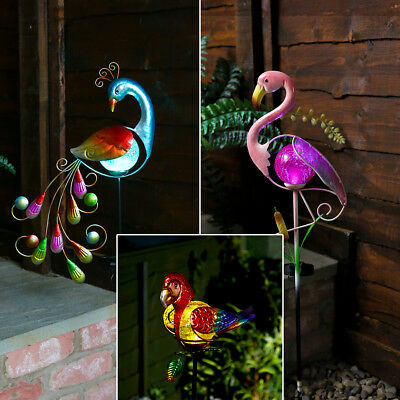 Festive Lights Solar Power Outdoor LED Peacock Flamingo Parrot Path Light