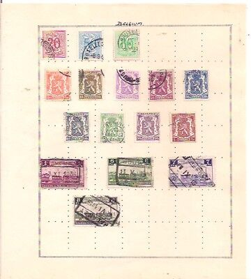 16 BELGIUM stamps on an album page.