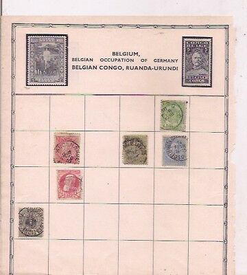 6 BELGIUM stamps on an album page.