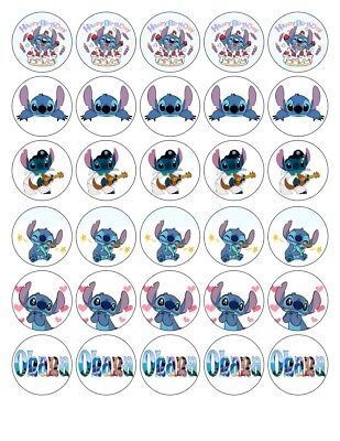 30X 4cm STITCH - LILO AND STITCH 2 EDIBLE FONDANT/WAFER FAIRY CUP CAKE TOPPERS
