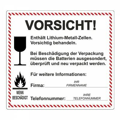 "Sticker "" Lithium-Metall-Zellen "" Incl. Company Name and Telefonnr 100 PC"