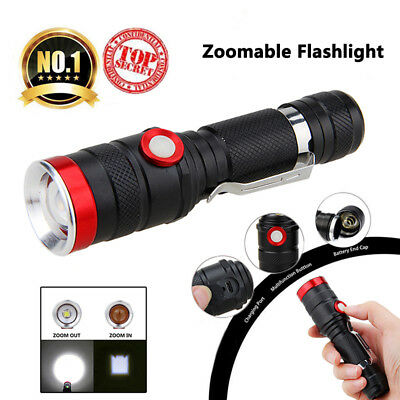 Zoomable USB Rechargeable Military Tactical XM-L2 LED Flashlight Hunting Torch