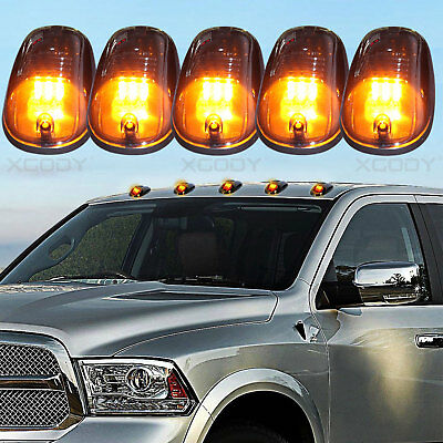 5x Smoked 9-LED Cab Roof Top Marker Running Clearance Light for Dodge Ram Ford