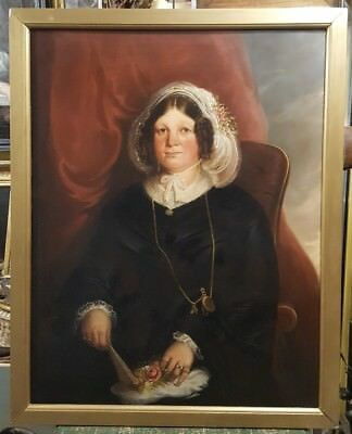 Large Original 19th Century Victorian Portrait of a Lady with Fan and Jewellery