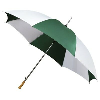 Mini Compact Golf Umbrella with Wooden Handle & Automatic Opening - Green White
