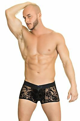L'Homme Invisible Mens Imperial Black V Boxer Brief Short Trunk Underwear (S/XL)
