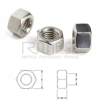 Heavy Hexagon Full Nuts A2 & A4 Stainless Steel UNI 5587 Sizes M3 to M20