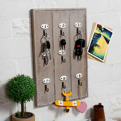 Vintage Key Hook Storage Holder Rustic Wood Wall Mount Organiser Cabinet Cubes