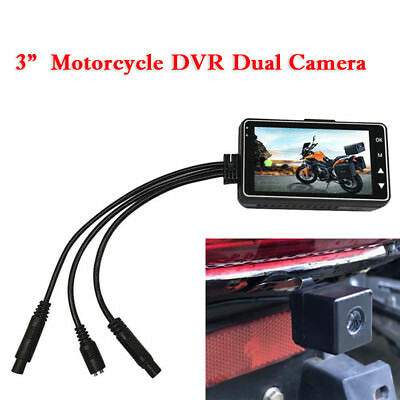 """12V 3"""" Dual Motorcycle Camera Front Rear HD MP4 Video Recorder Waterproof Trim"""