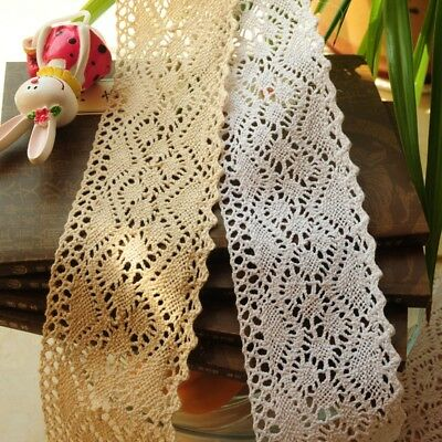 10M Vintage Ivory Cream Cotton Crochet Lace Trim Ribbon DIY Sewing Craft 5cm