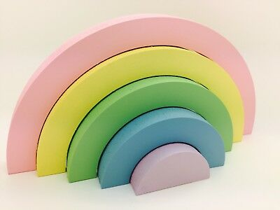 Handmade wooden stacking Pastel rainbow nursery kids Room Decor, Shelf