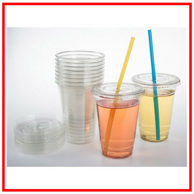 Clear Plastic Cups With Flat Lids 30 Count 10 Ounce Disposable Party Drinks Set