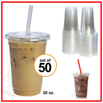 50 Sets 20 Oz Disposable Plastic Clear Cups with Flat Lids For Cold Drinks Party