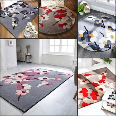 Modern Floral Design Thick Hand Carved Oblong and Round Rug Hand Tufted Carpet