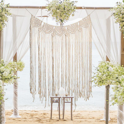 Big Macrame Wall Hanging Tapestry Room Home Door Window Curtain Wedding Backdrop