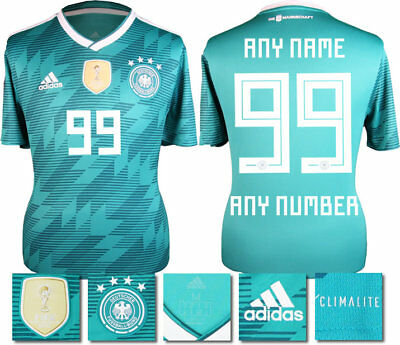 Personalised - Germany Away 2018 World Cup Adidas Shirt Ss = Adults
