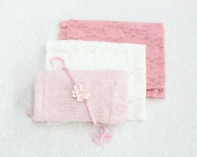 Newborn Baby Photography Props - Wrap & Hairband Bundle - Pink & Cream
