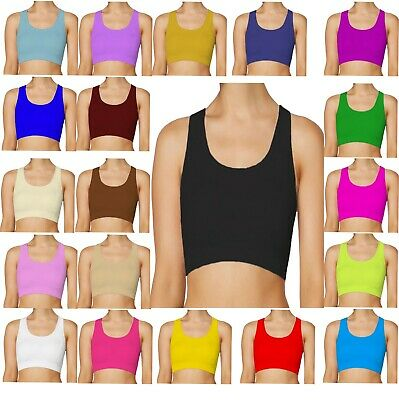Girls kids All Colours Lycra Dance Gym Sports Racer Back Crop Top Size 2-14