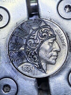 Chief Headdress Feather Old Fashioned Hand Carved Hobo Nickel Coin Art