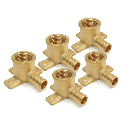 """(5) New 1/2"""" x 1/2"""" PEX BRASS DROP EAR ELBOWS Barbed Fitting Connector LEAD FREE"""