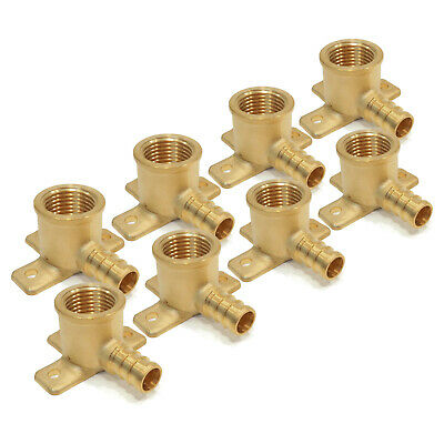 """(8) New 1/2"""" x 1/2"""" PEX BRASS DROP EAR ELBOWS Barbed Fitting Connector LEAD FREE"""