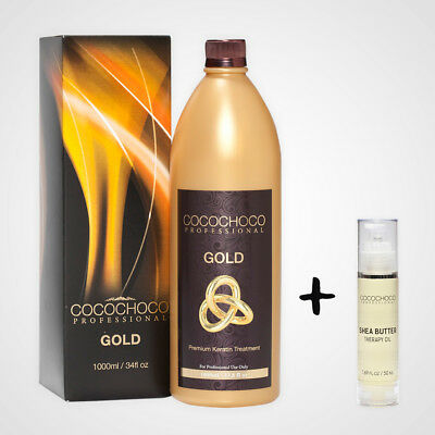 COCOCHOCO Gold Brazilian Keratin Hair Treatment 1000 ml / 33.8oz | Gift hair oil