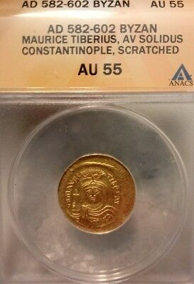 Byzantine Empire Maurice Tiberius Solidus ANACS AU ancient gold coin