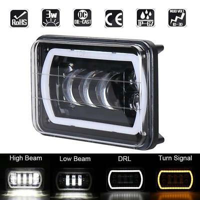 6x4in 45W LED Work Light Projector Headlight DRL Fr Jeep Wrangler YJ Cherokee XJ