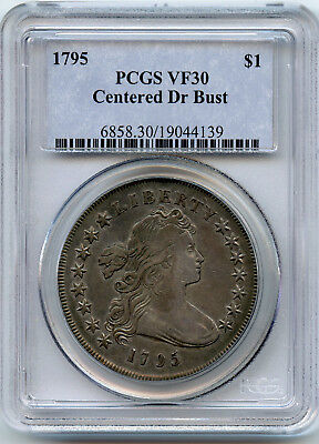 1795 $1 Silver Dollar Centered Draped Bust PCGS VF 30- 3 leaves