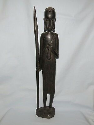 heavy timber figure EBONY TALL MASAI MAASAI WARRIOR CARVING 20 inches tall