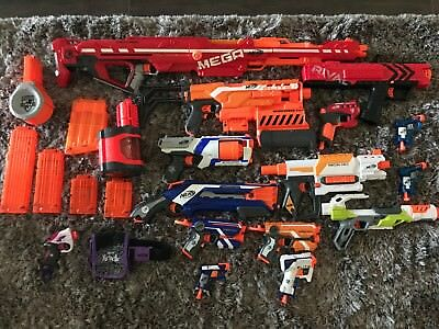 HUGE Nerf Gun Lot: 15 Nerf Guns And Accessories Also Included