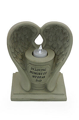 Special Dad Stone Graveside Memorial Wings Tea Light Holder Ornament DF17415D