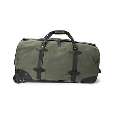 Filson Leather & Tin Cloth Large Rolling Travel Bag / Luggage / Duffle