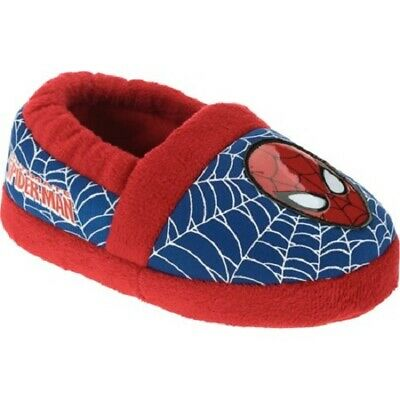 bb5d60d5695a MARVEL TODDLER BOYS Cozy Red   Blue Spiderman Plush Slippers Size S ...