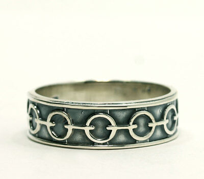 Antiqued Oxidized Sterling Silver Open Circle Bar Eternity Recessed Band Ring