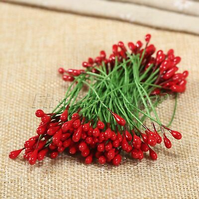 100Pcs Red Artificial Flower Stamens Plastic Wire Wrapped Scrapbooking Project