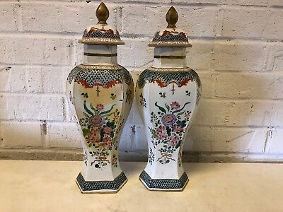 Ant Old Paris Samson Chinese Export Style Porcelain Pair of Covered Jars / Urns