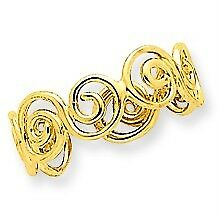 14K Yellow Gold Polished & Casted Scroll Design Adjustable Fashion Toe Ring