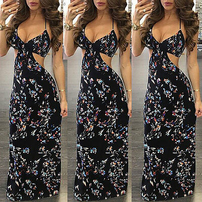 Women Summer Vintage Boho Long Maxi Evening Party Beach Dress Floral Sundress US