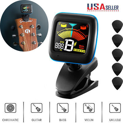 LCD Clip-on Electronic Digital Guitar Tuner for Chromatic Violin Ukulele Bass US