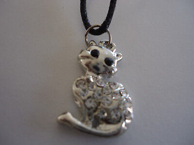 Cat with Dimente Rhinestones Silver Pendant with Black Cord  Necklace (OP076)