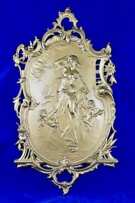 Antique National Bronze & Iron Works Art Nouveau Figural Cast Iron Wall Plaque