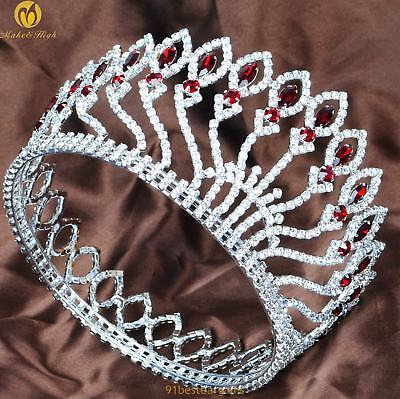"""Red Crystal 4"""" Bride Crown Crystal Pageant Full Round Tiara Diadem Wedding Party"""
