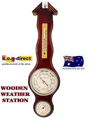 Wooden Weather Station Barometer Thermometer & Hygrometer Wood Piano Finish (E)