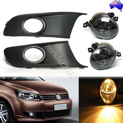1 Pair Car Front Fog Lights 12V & Protect Cover Grille Set For VW Touran Caddy