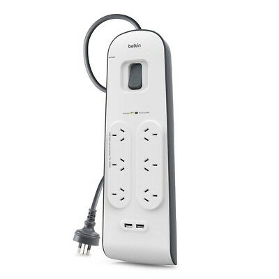 Belkin 6 Way Outlet Surge Protector Power Board with USB Charging iPhone Charger