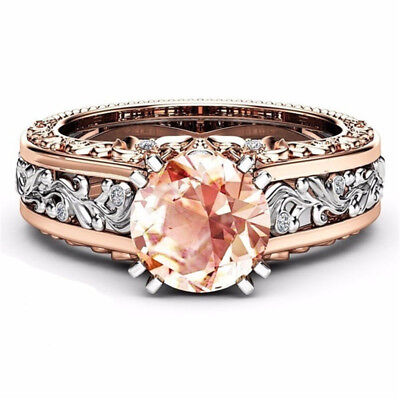 White Topaz& Morganite 18K Rose Gold Women Jewelry Wedding Engagement Ring Gift
